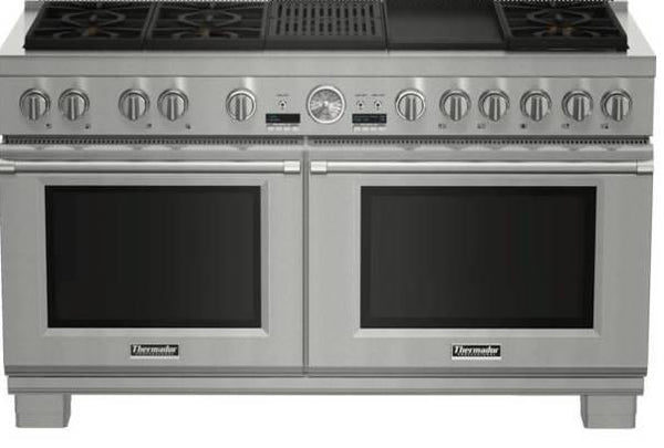 NIB Thermador Pro Grand 60'' Griddle & Grill Stainless Dual Fuel Range PRD606RCG - Alabama Appliance