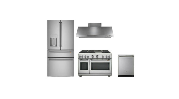 "Ge Caf Full Kitchen: 4 PC 36"" Refrigerator, 48"" Duel fuel Range, Dishw, Hood - Alabama Appliance"
