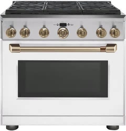 NIB GE Cafe CGY366P4MW2 36 Inches Freestanding Professional Convection Gas Range