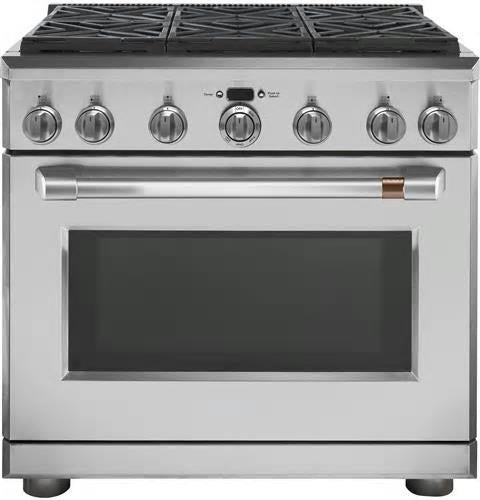 "NIB GE Cafe CGY366P2MS1 36"" Freestanding Professional Convection Gas Range - Alabama Appliance"