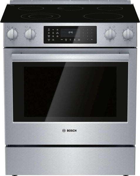 "Bosch 800 Series 30"" Touch Control Warming Zone Slide-In Electric Range HEI8056U - Alabama Appliance"
