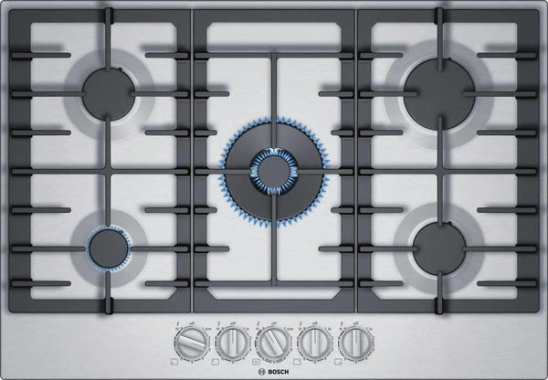 "Bosch 800 Series 30"" Low Profile 5-Burner Stainless Steel Gas Cooktop NGM8057UC - Alabama Appliance"