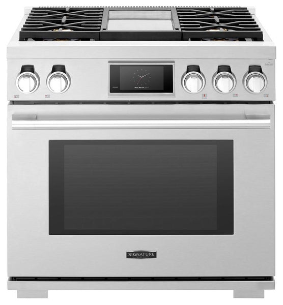 "Signature Kitchen 36"" Wifi 6.3 Cu.Ft Oven Dual Fuel Pro Range SKSDR360GS Perfect - Alabama Appliance"
