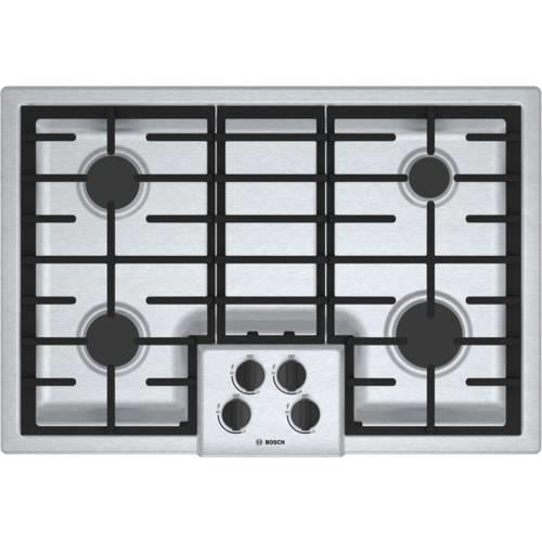 "Bosch 500 Series 30"" SS 4 Sealed Burner Low-Profile Gas Cooktop NGM5055UC - Alabama Appliance"