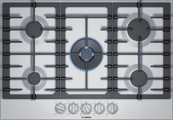 "Bosch 800 Series 36"" Low Profile 5-Burner Stainless Steel Gas Cooktop NGM8657UC - Alabama Appliance"