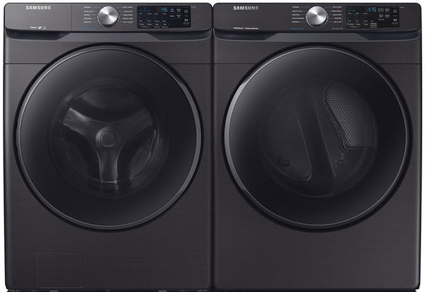 "Samsung 27"" Electric Black Stainless dryer DVE45R6300V & washer WF45R6300AV Comb - Alabama Appliance"