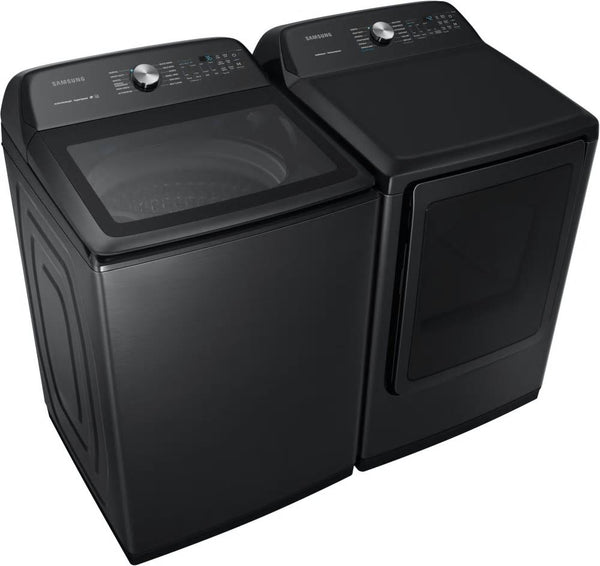 "Samsung 27"" Washer WA50R5400AV & DVE50R5400V Electric Steam Dryer Black Sta. Set - Alabama Appliance"