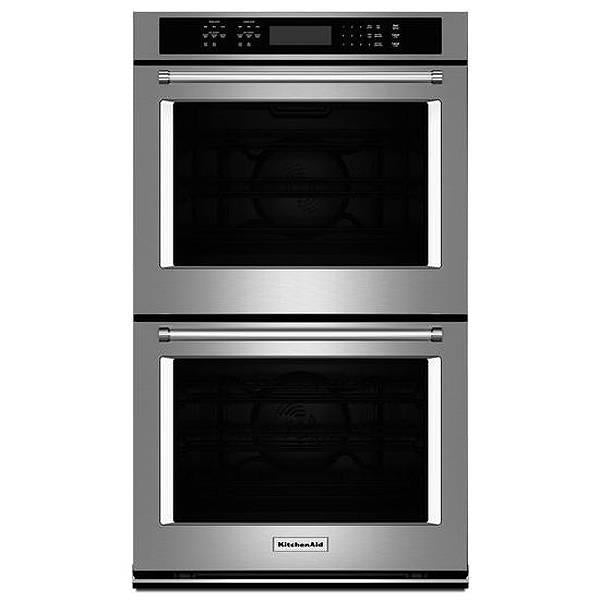 "KitchenAid 27"" 8.6 Cu. Ft Self Cleaning Stainless Convect Wall Oven KODE507ESS - Alabama Appliance"