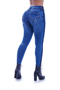 RACHAEL Mid wasted Side stripe skinny jeans, embroidered pockets