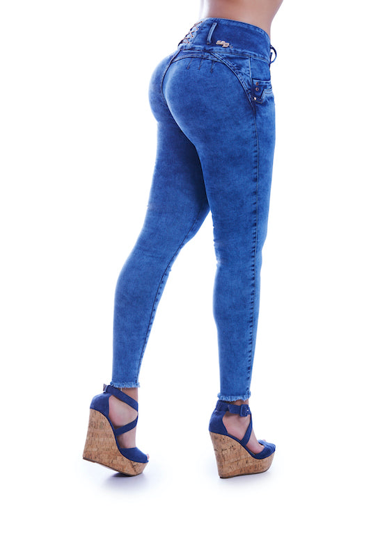 HEATHER Light acid wash high wasted jeans with criss cross detail, push up effect