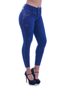 MEGAN High wasted skinny jeans with gold studded details, super abs control