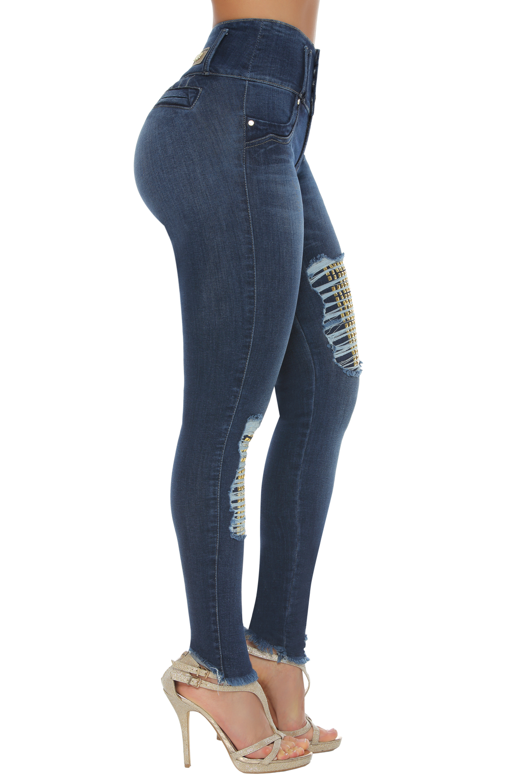 LOUISIANA high rise rippied skinny jeans w/ gold studs