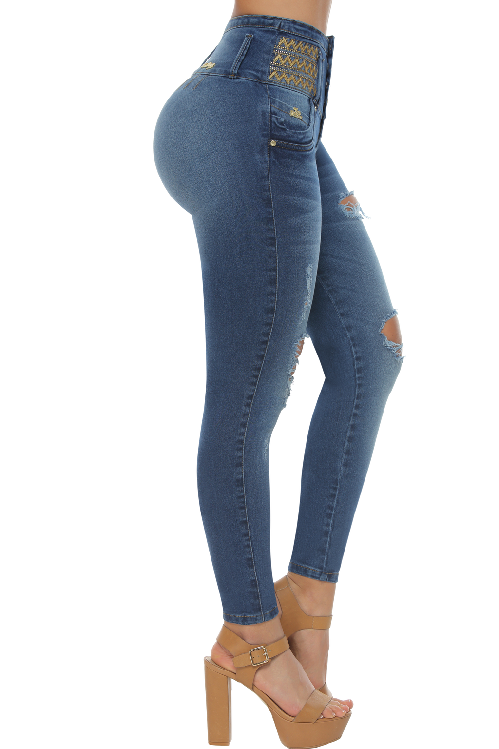 MAINE ab control high rise ripped skinny jeans