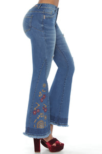 WYOMING Bell embroidered bottom push up tight fit jeans