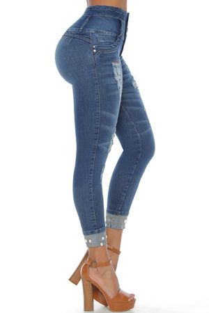 WISCONSIN ab control push up styled cuffed hem jeans w/ jewels