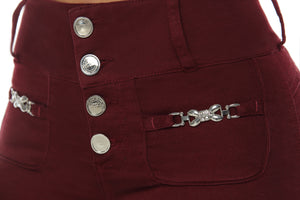 COLORADO - Wine Red Push up Jeans with metal details