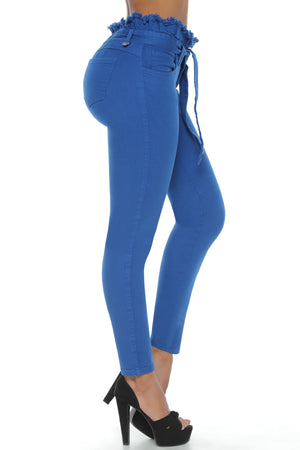 TENNESSEE blue paper bag waist push up skinny jeans
