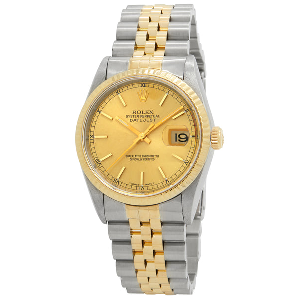 Rolex Datejust Gold Dial Automatic Watch 16233