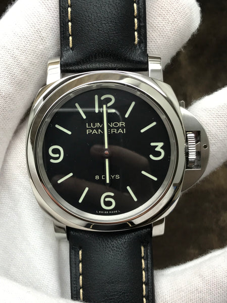 Panerai Luminor Base 8 Days Acciaio Black Dial Hand Wind Men's Watch Pam00560