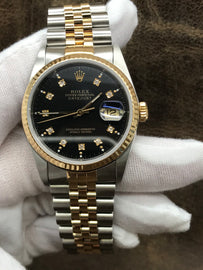 Rolex Datejust 16233 Black Dial Automatic Men's Watch
