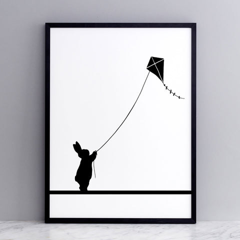 Kite Flying Rabbit Print