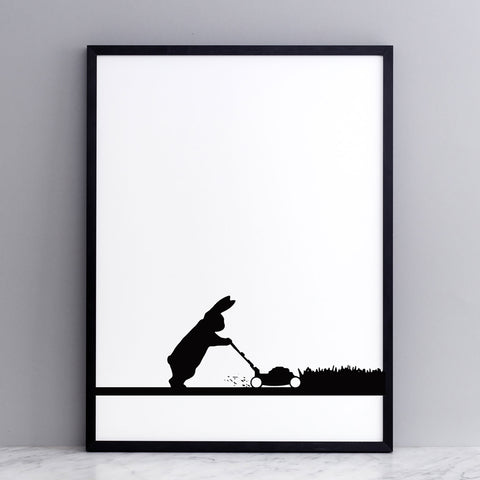 Mowing Rabbit Print