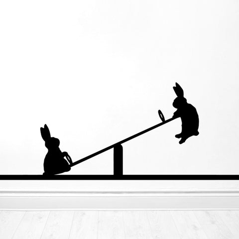 Seesawing Rabbit Wall Sticker