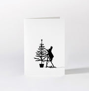 Tree Trimming Rabbit Card