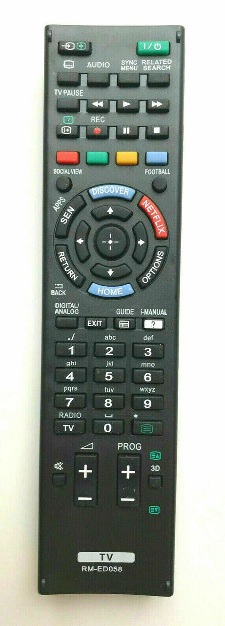 TV Sony Remote Control Replacement for Sony RM-ED058 RMED058  Netflix button