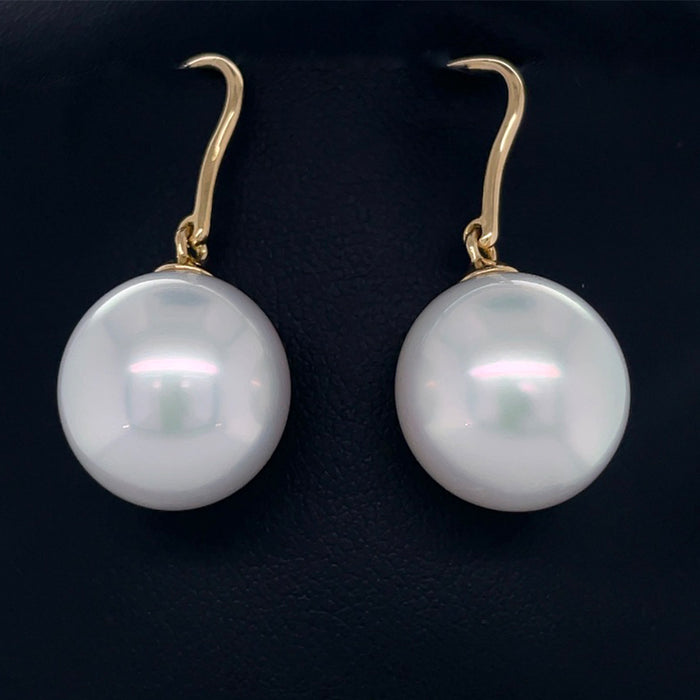 18ct Yellow Gold Earring with 14mm White South Sea Pearl