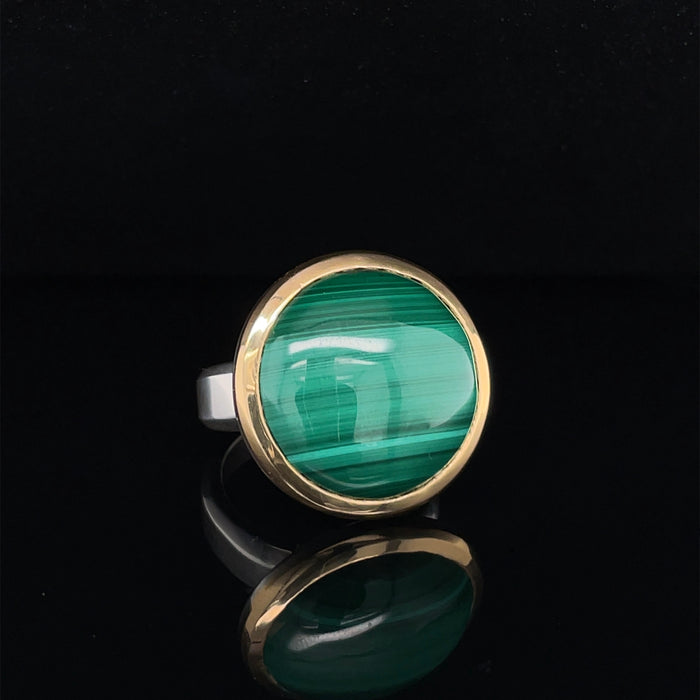 18ct Gold and Silver Ring with Malachite Zircon