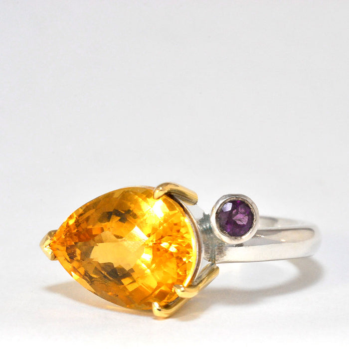 18ct Gold and Silver Ring with Citrine and Amethyst