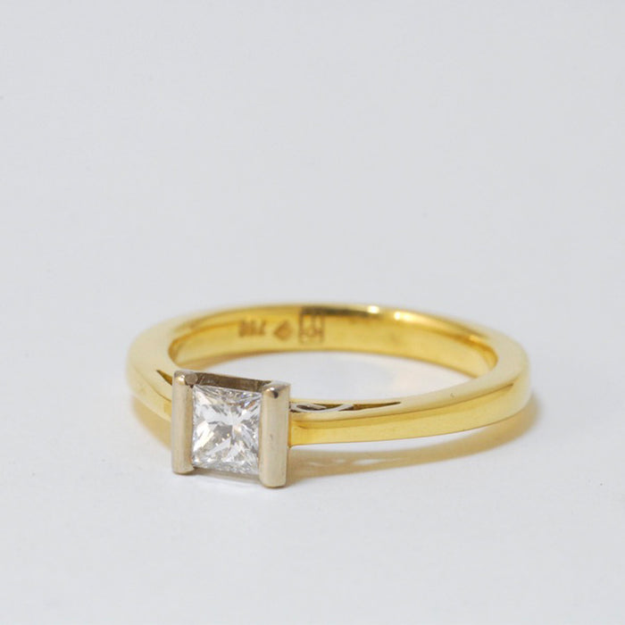 18ct Yellow and White Gold Ring with 0.49ct Diamond