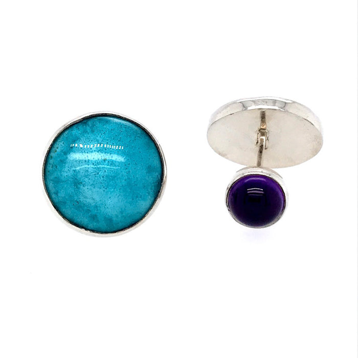 Enamel and Amethyst Silver Cufflinks