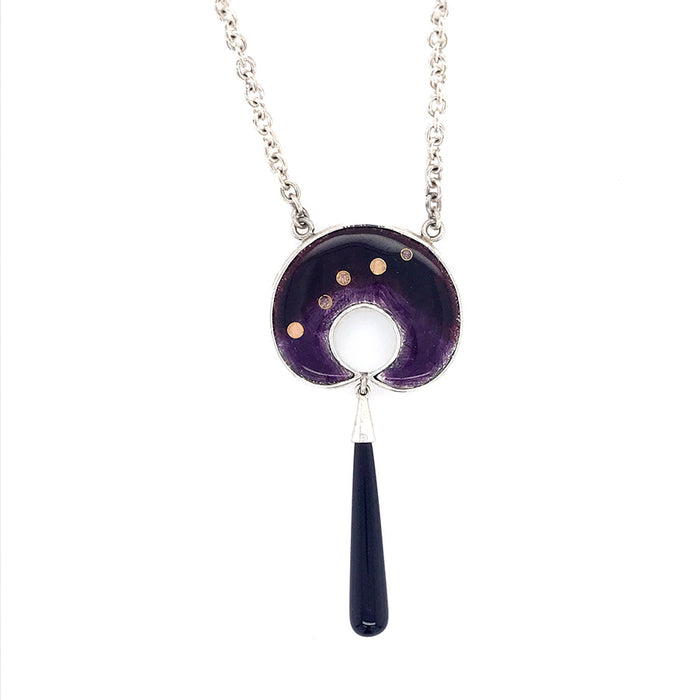 Silver Pendant with Enamel, Onyx and Fine Gold