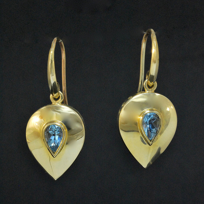 Gold Shield Earring with Topaz