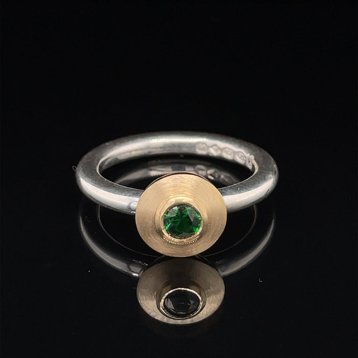 18ct Gold and Silver Ring with Tsavorite