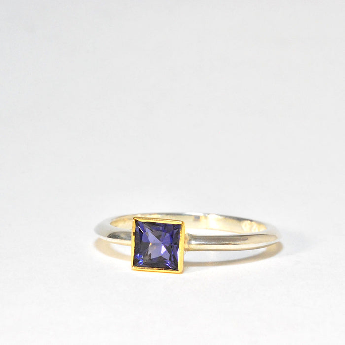 Silver and 18ct Gold Ring with Iolite