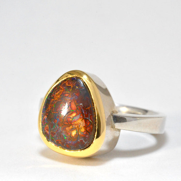 18ct Gold and Silver Ring with Yowah Opal