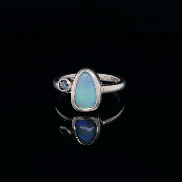 Silver Ring with Opal and Sapphire