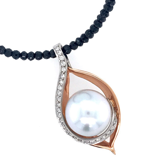 18ct White and Rose Gold Pendant with Pearl, Diamond and Spinel