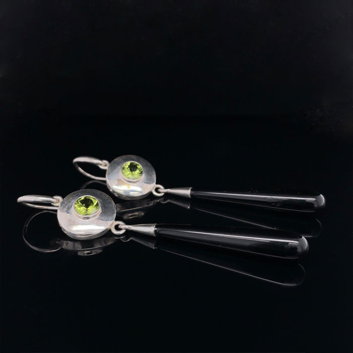 Silver Earrings with Peridot and Onyx