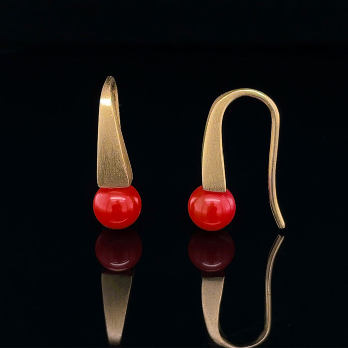 9ct Yellow Gold Earrings with Coral
