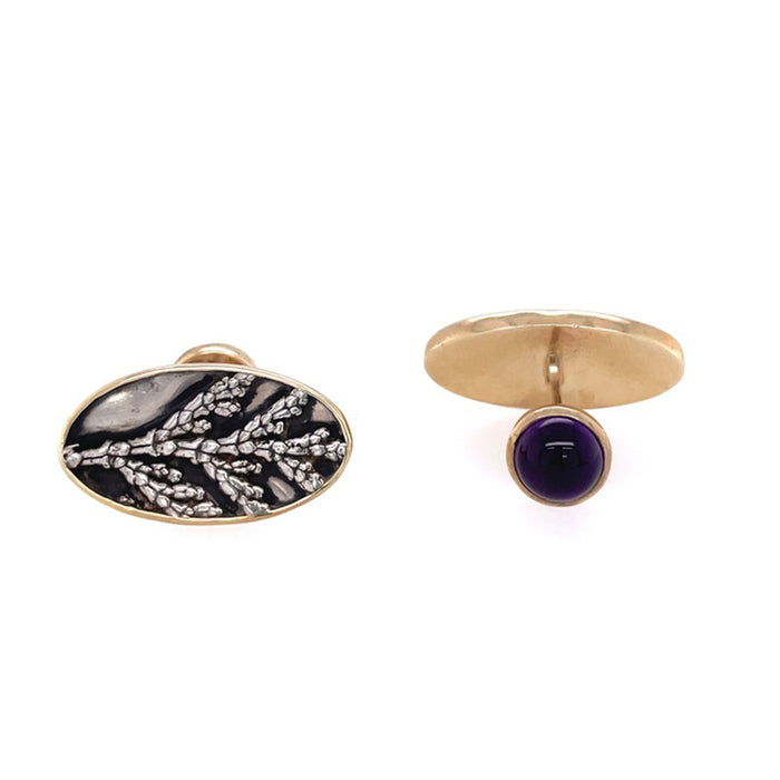 9ct Gold and Silver Cufflinks with Amethyst