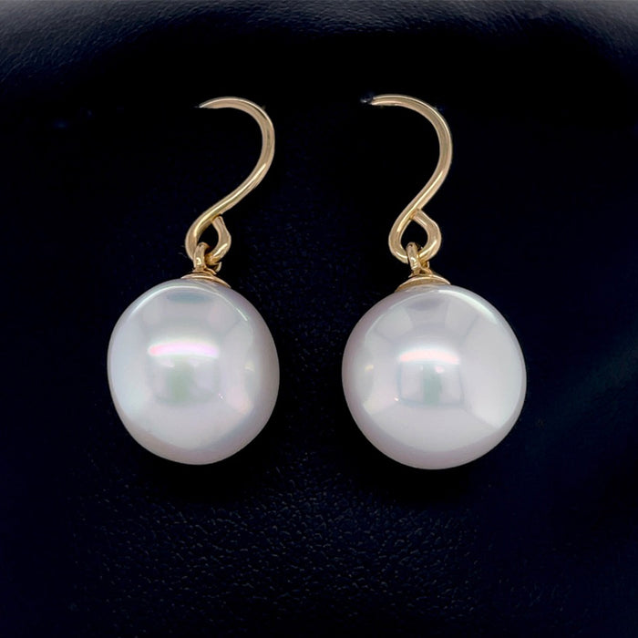 18ct Yellow Gold Earring with 12.7mm White South Sea Pearl