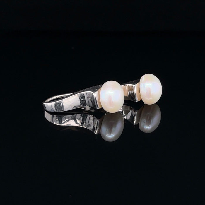 Silver and White Pearl Earrings - Wave