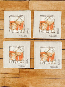 Whiskey Rocks Stone Coaster Set