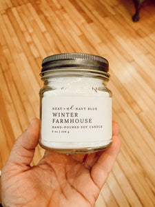 Hand poured Winter Farmhouse Soy Candle