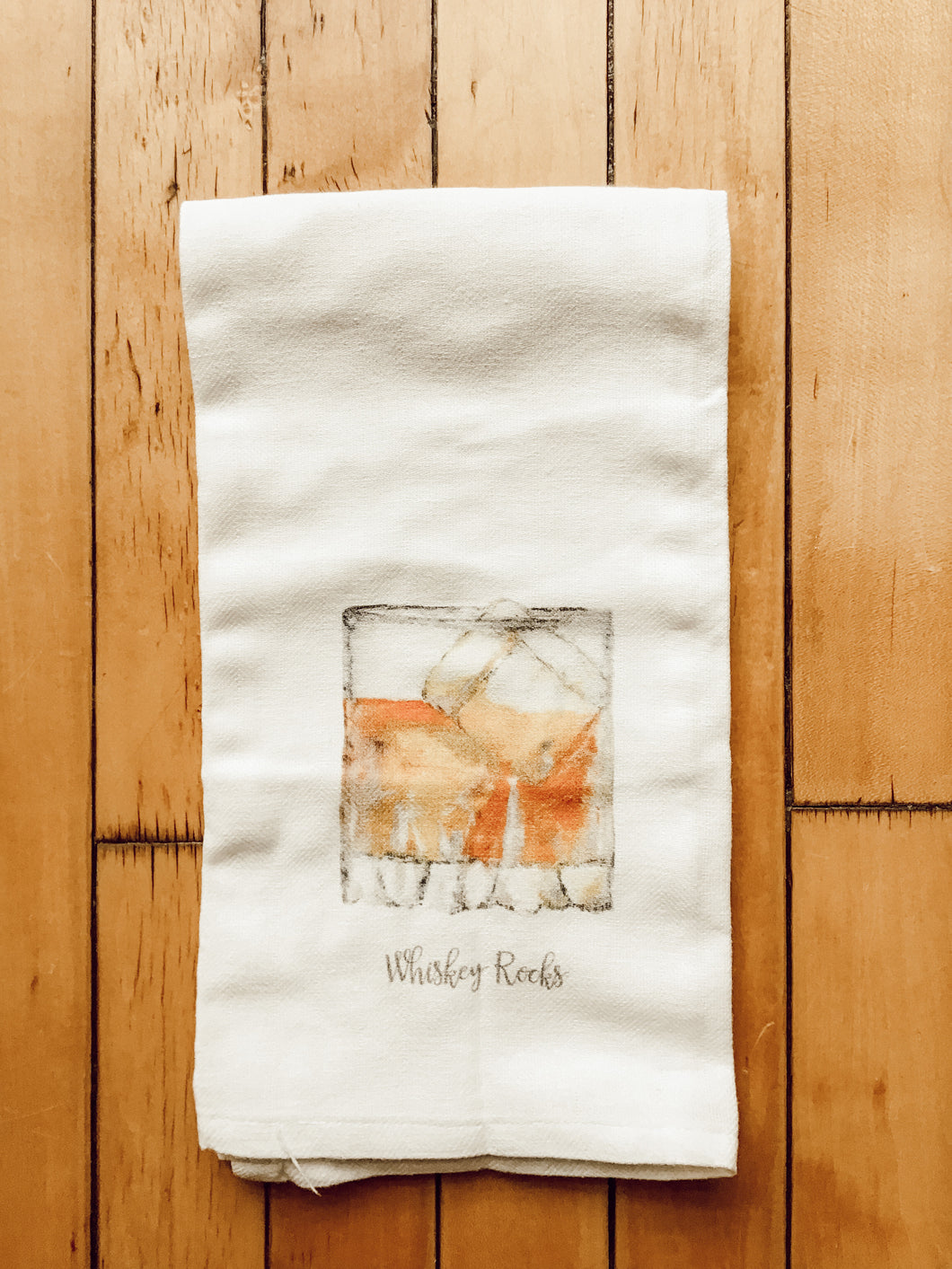 Whiskey Rocks White Tea Towel