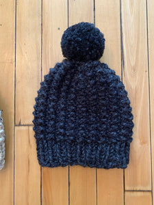 Hand knit Pom beanie winter hats